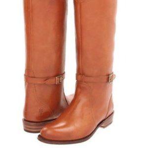 Frye Cognac Dorado Leather Riding Buckle Boots